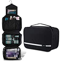 Travel Toiletry Bag Organizer, Jiemei Hanging Wash Bag Shaving Dopp Kit with 4 Compartments | Foldable Compact Size for Men Women (Black)