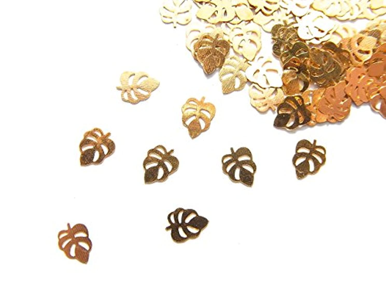 脇にリフト疑い者【jewel】ug30 薄型ゴールド メタルパーツ 葉っぱ リーフ 10個入り ネイルアートパーツ レジンパーツ