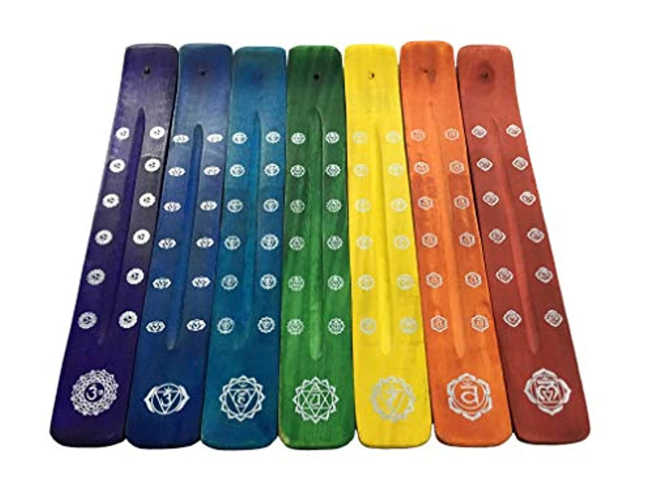 下着エリート戦闘Vrinda木製Incense Holder/Burner with Printed従来デザイン7チャクラ、10