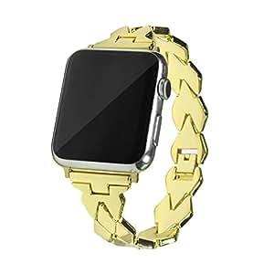 Apple Watch バンド Sakula 高品質ステンレス アップルウォッチ ベルト Apple Watch Series 3/2/1 バンド 42mm(ゴールド)