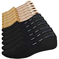 Mens Cotton Low Cut No Show Casual Loafer Socks Flat Boat Liner Non-Slip 6 Pairs