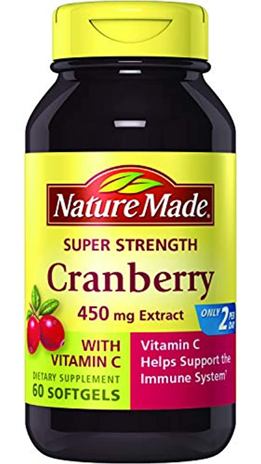 磨かれたロードハウス海洋Nature Made Super Strength, Cranberry ( 450 mg Extract) with Vitamin C, 60 Softgels 海外直送品