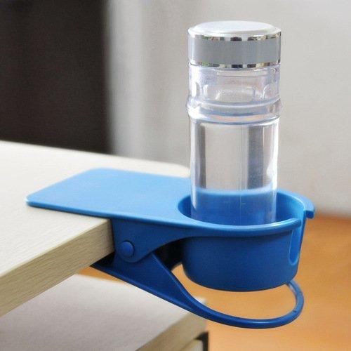 クリップ式カップホルダー カップ ホルダー ドリンク コップ ボトル 置き場 テーブル サイド 机 雑貨 飲み物 テーブルにカップホルダーを増設(ブルー)