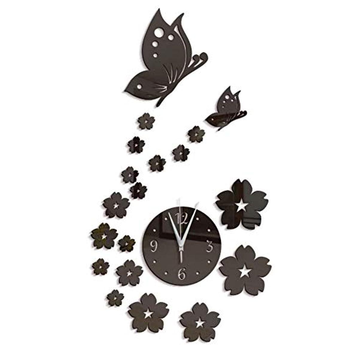 文明化するフレッシュ氏Symboat DIYミラーウォールステッカー 家の居間のための壁のステッカー3Dミラーの蝶時計の花の背景の装飾