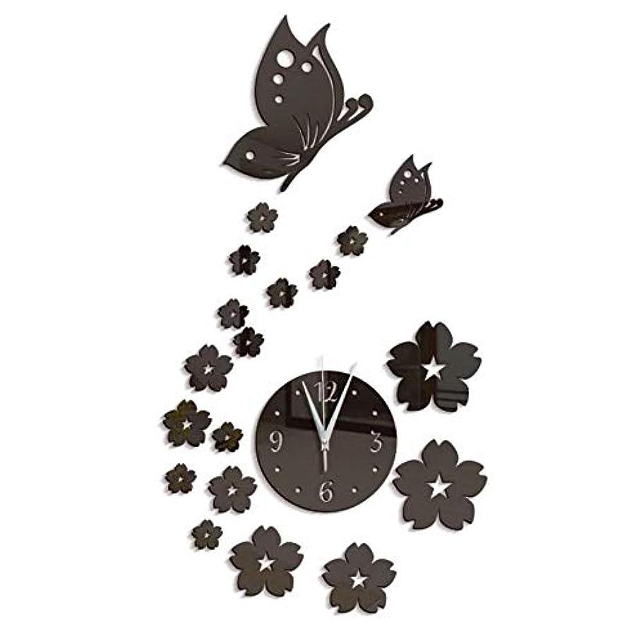 もつれ外国人何Symboat DIYミラーウォールステッカー 家の居間のための壁のステッカー3Dミラーの蝶時計の花の背景の装飾