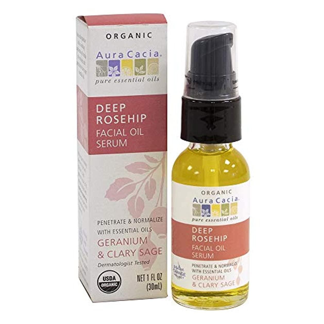ロゴレイ検閲Aura Cacia, Organic Deep Rosehip Essentials Facial Oil Serum, Geranium & Clary Sage, 1 fl oz (30 ml)