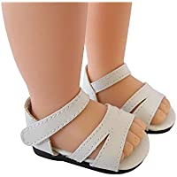 White American Girl Doll Sandals, PU Doll Shoes With Ankle Strape,18'' Doll Accessories