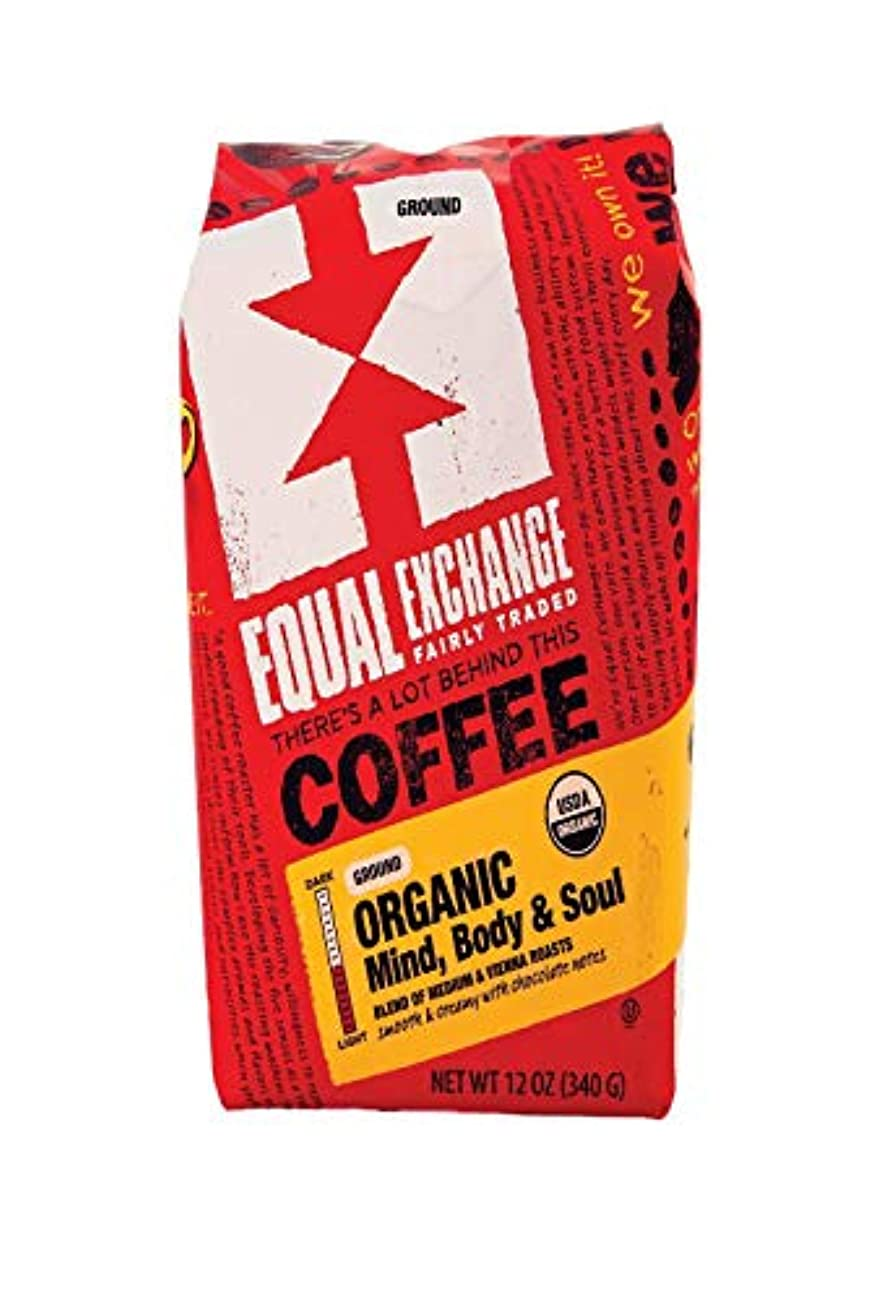 忘れるスプリット穀物Equal ExchangeオーガニックMind Body & SoulコーヒーGround Medium Roast – - 12 oz