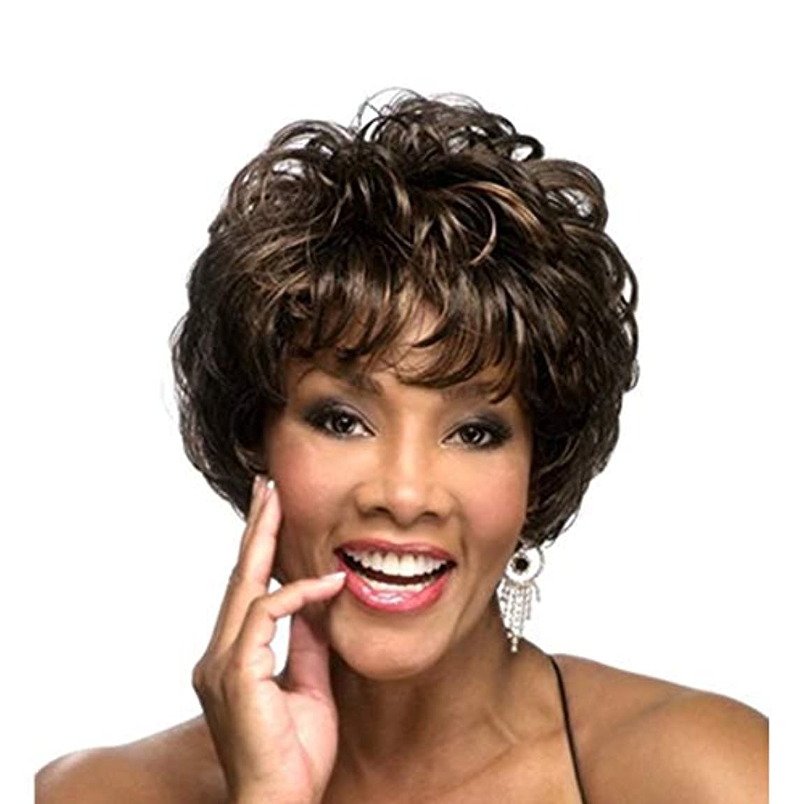 キャンベラティーンエイジャー一貫したWASAIO Cospaly党髪かつら女性のボブ茶色の短い巻き毛 (色 : ブラウン)