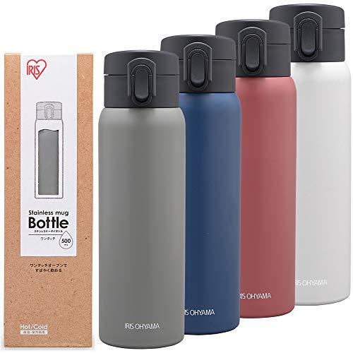 アイリスオーヤマ 水筒 500ml 保温 保冷 【ワンタッチオープンタイプ】 アッシュグレー SB-O500