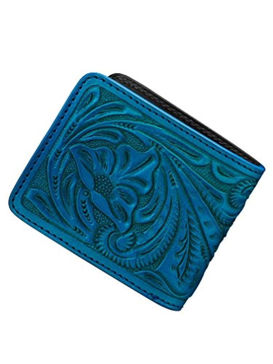 シャット保護病なBizarre ビザール カービング レザー 二つ折り ショート ウォレット ターコイズ 財布 メンズ レディース LWG030TQ