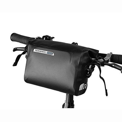 自転車フロントバッグ 自転車用バッグ 3L トップチューブバッグ ROSWHEEL ハンドルバーバッグ フレームバッグ 前カゴ 収納アクセサリー 大容量 容量調節可能 サイクリング バイクバッグ 防水 耐震 反射ライン ブラック