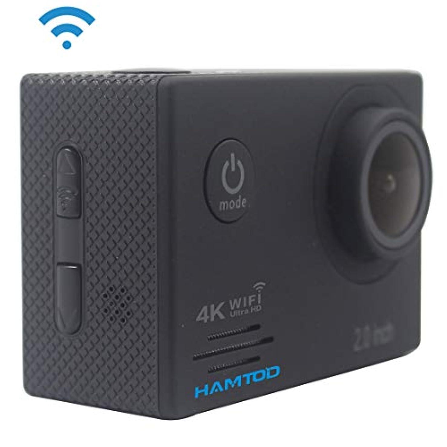 ブルジョン線しないCamera 防水ケース付きHF60 UHD 4K WiFi 16.0MPスポーツカメラ、Generalplus 4247、2.0インチLCDスクリーン、120度広角レンズ、シンプルなアクセサリー(ブラック)を強くお勧めします (Color : Black)