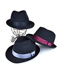 ノーブランド品 サテンリボンブラック中折 ヤング帽子