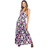 KRISP Women Ladies Boho V Neck Sleeveless Long Maxi Dress Summer Party Beach Sundress