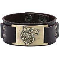 (Brown, Antique Bronze) - Lemegeton Pagan Celtic Knot Wolf Fenrir Crafts Connector Leather Cuff Bracelet Men Jewellery