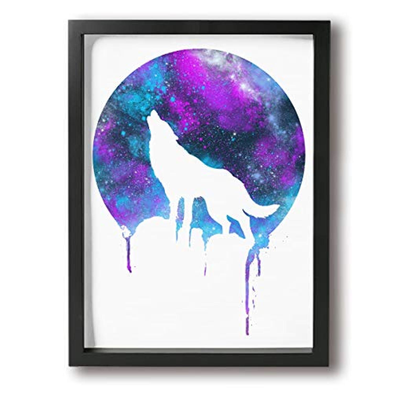 LQS 絵 アートパネル キャンバスアートパネル フォトフレーム 絵 ポスター 壁飾り宇宙 望遠鏡 吠える ウルフ 狼 オオカミ 30*40cm