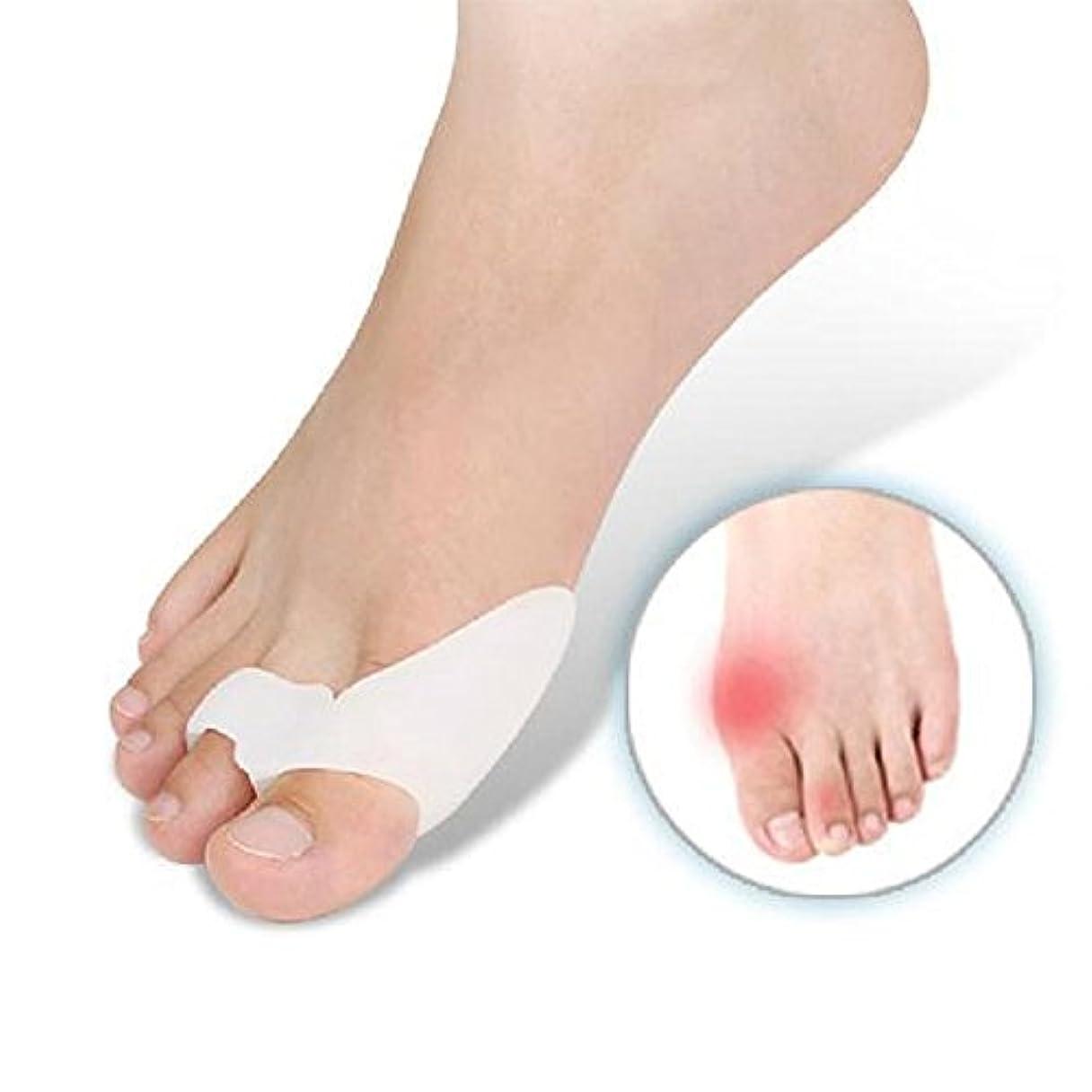Smato 外反母趾矯正 シリコンパッド 足指サポーター フットケア 矯正 健康グッズ ヘルス クッション 足の痛み ト 衝撃吸収 両足セット (フリーサイズ, ホワイト)