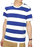 (リピード) REPIDO Tシャツ ボーダー 半袖 クルーネック メンズ ボーダーTシャツ ホワイト×ブルー(C) XLサイズ