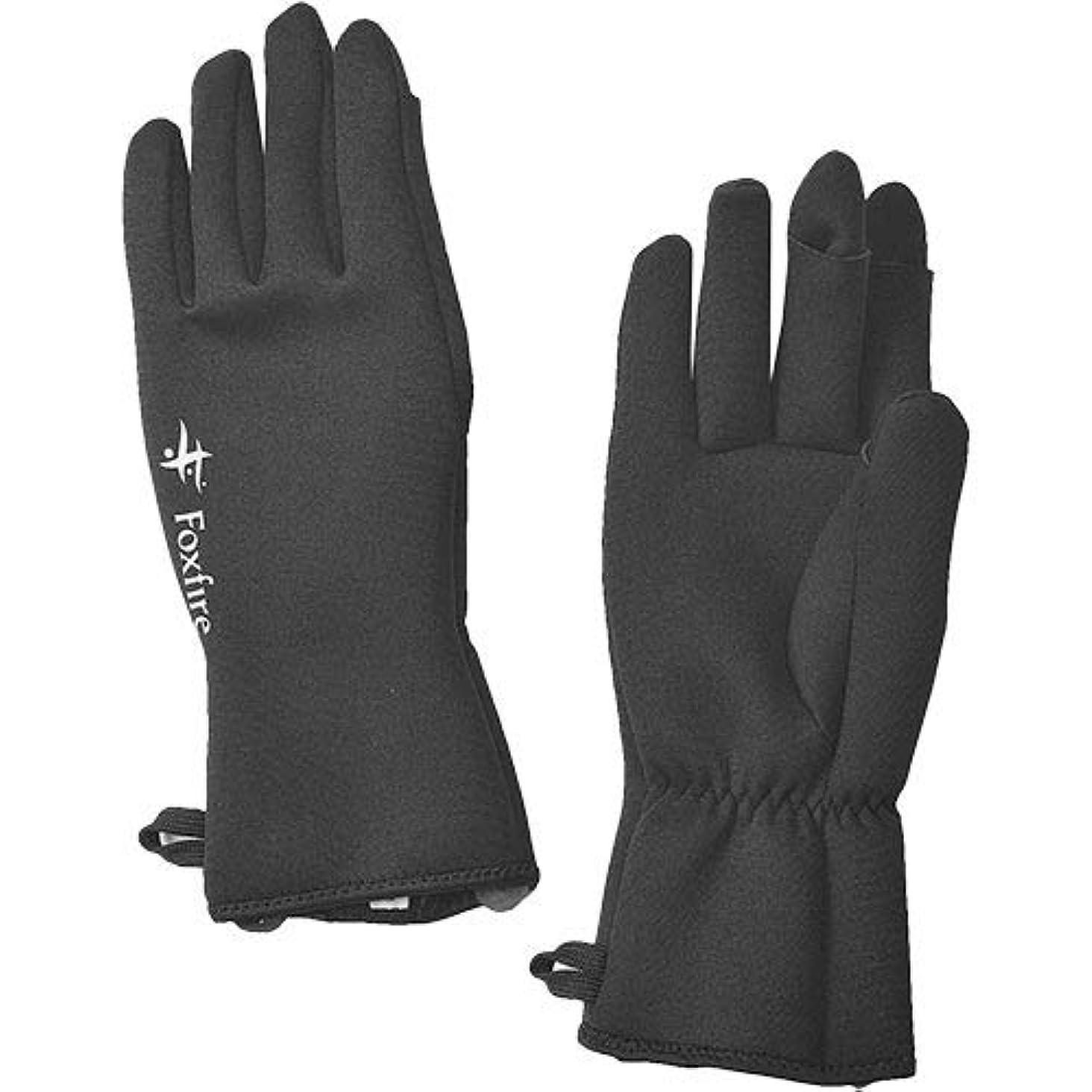 温度クロール無条件[フォックスファイヤー] フィッシング メンズ クロロプレンフィンガースルーグラブ Chloroprene Finger-through Gloves ブラック XL