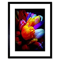 Photo Composition Tulip Flowers Petals Pretty Orange Framed Wall Art Print