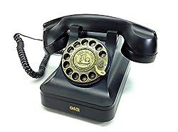 ノスタルジック アイテム 懐かしの 黒電話風 オシャレな 電話機 ブラック