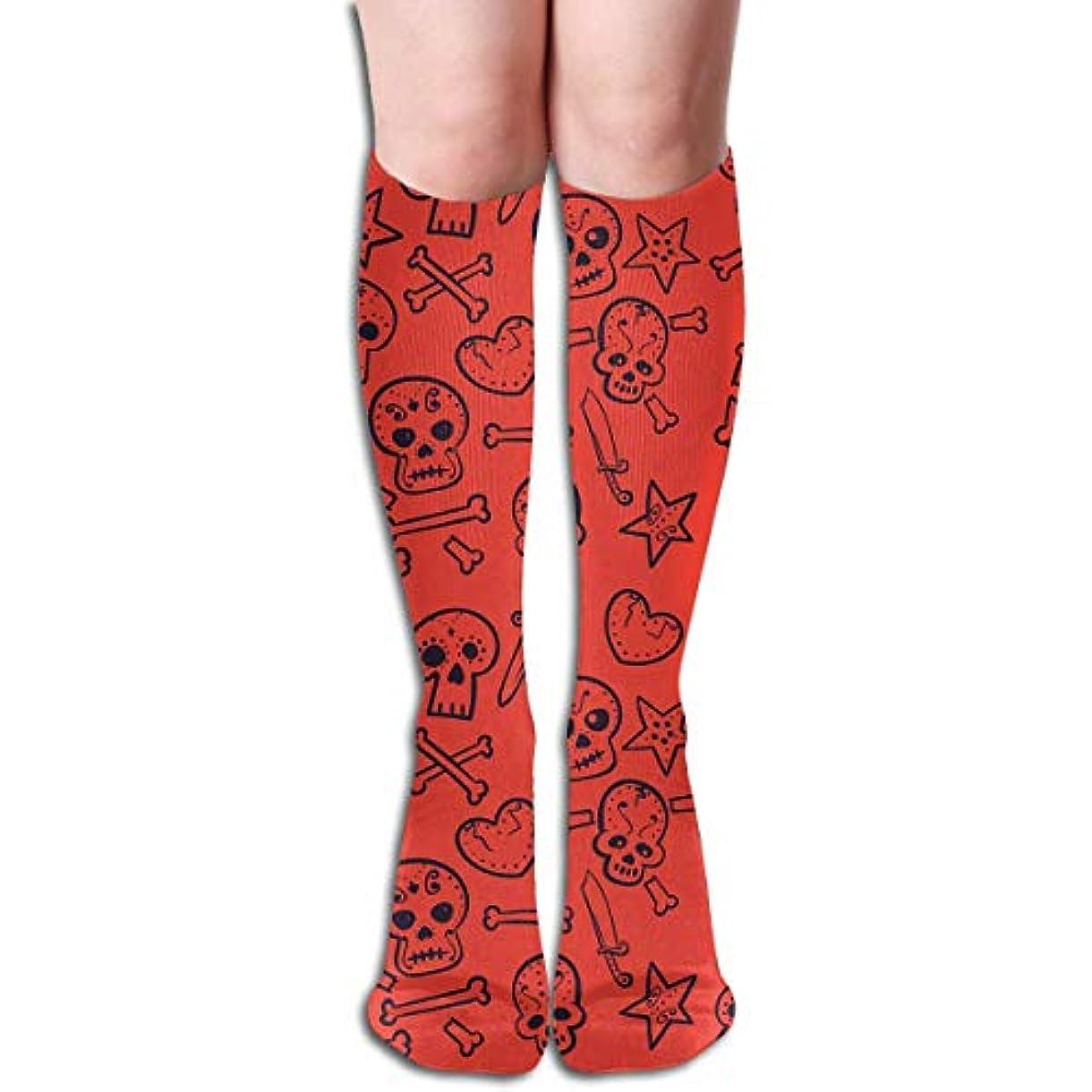 チーフボアおqrriyスカル心臓チューブストッキングレディース冬暖かい暖かいハイソックスブーツ靴下