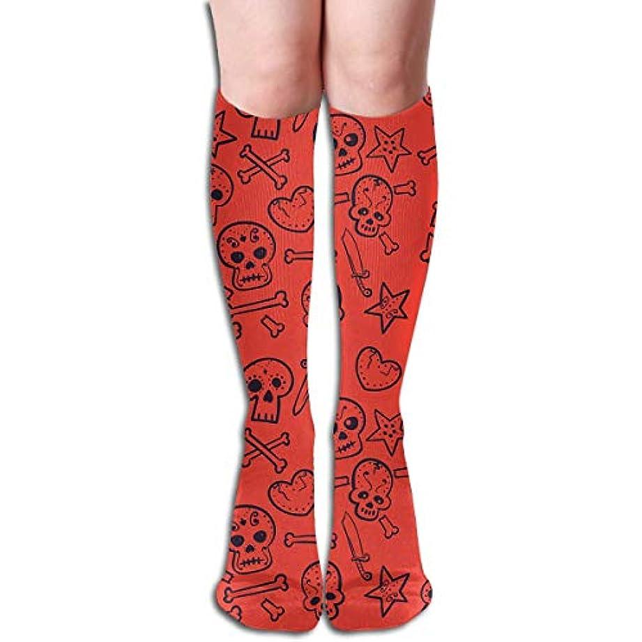 連想相反する活力qrriyスカル心臓チューブストッキングレディース冬暖かい暖かいハイソックスブーツ靴下