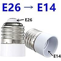 口金変換 アダプター E26-E14 電球 ソケット 口金 照明補助器具 (E26-E14, PC+銅)