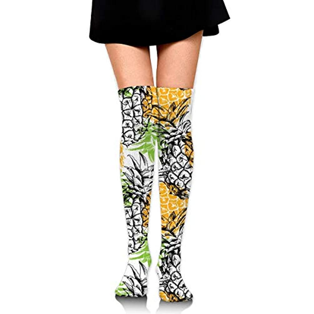 公平飲食店厚いMKLOS 通気性 圧縮ソックス Breathable Extra Long Cotton Mid Thigh High Yellow Pineapple Exotic Psychedelic Print Compression...