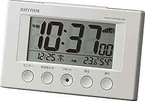 リズム時計 電波 目覚まし 時計 デジタル フィットウェーブスマート 温度 湿度 カレンダー 表示 白 RHYTHM 8RZ166SR03