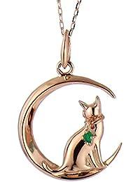 SUEHIRO ネコ ダイヤモンド ピンクゴールド ペンダント ネックレス 猫 5月 誕生石 エメラルド