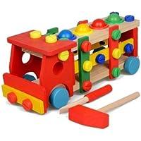 CTVshop 木製トラックブロック 組み立て 子供の知育 木のおもちゃ ごっこ遊び 大工さんセット