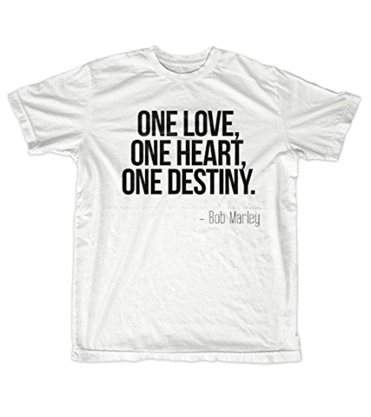 段階インフルエンザ悲劇的なOne Love One Heart One Destiny Bob Marley 引用する 男性用 Tシャツ