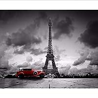 Wuyyii 写真の壁紙パリエッフェル塔白黒車の壁カスタム3Dリビングルーム壁画ホテルの装飾Wallpaper400X280Cm