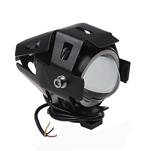 MOTOSTAR バイク汎用 LED フォグランプ IP67防水 最新改良版 LEDサブライト CREE製 U7 アルミ製15W 3000LM 12V~80V イカリング付き ストロボ機能 イカリング カラー:ブルー【一年保証付き】