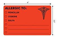 "Tabbies Allergy Labels,Fluorescent Red,4""W x 2-1/2""H,""ALLERGIC OPTIONS"" 100 Labels/Roll [並行輸入品]"