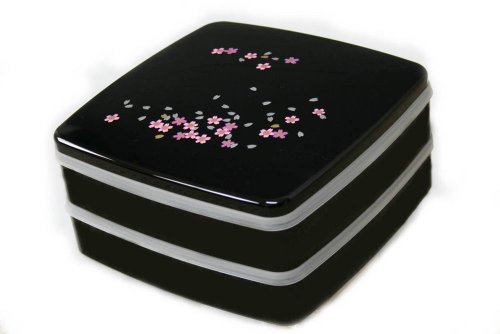 桜 黒塗 2段オードブル重 仕切り  シール中蓋付き 001-181