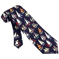 Men's 100% Navy Blue Nautical Name that Boat Sailboat Necktie Tie Neckwear