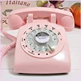 Glodeals 1960's Style Pink Retro Old Fashioned Rotary Dial Telephone