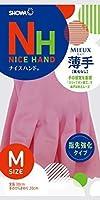 ショーワグローブ【指先強化タイプ】ナイスハンド ミュー 薄手 Mサイズ ピンク 10双