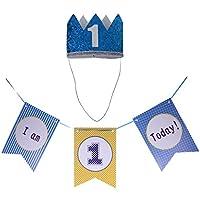 Lovoski 赤ちゃん 1歳 誕生日パーティー 飾り 帽子 王冠 ヘッドバンド & I am 1 Today ガーランド バナー