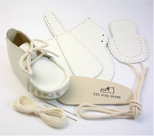 本革製ファーストシューズの手作りキットオール白10cm