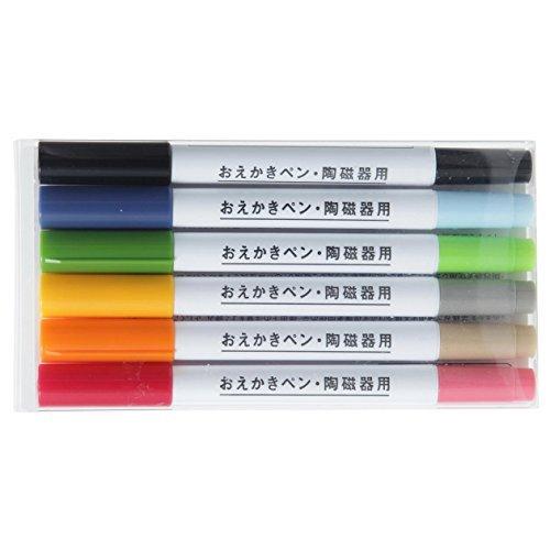 無印良品 おえかきペン・陶磁器用_6本セット 2色ペン×5本・黒ツインペン×...