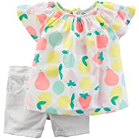 Carter's Girts 2-Piece Fruit Print Top & White Shorts Set (12m)