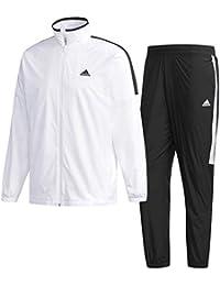アディダス(adidas) M ESS ベーシック ウインドブレーカージャケット&パンツ 裏起毛 上下セット(ホワイト/ブラックホワイト) FKJ77-DN1426-FKJ79-DN1359