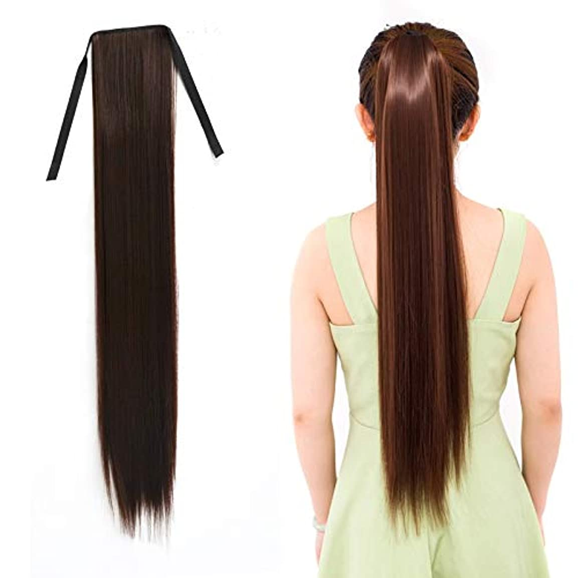 抑圧者穿孔する装置美しさ 女性のためのナチュラルロングストレートヘアポニーテール包帯かつらポニーテール、長さ:75センチ ヘア&シェービング (色 : Black Brown)