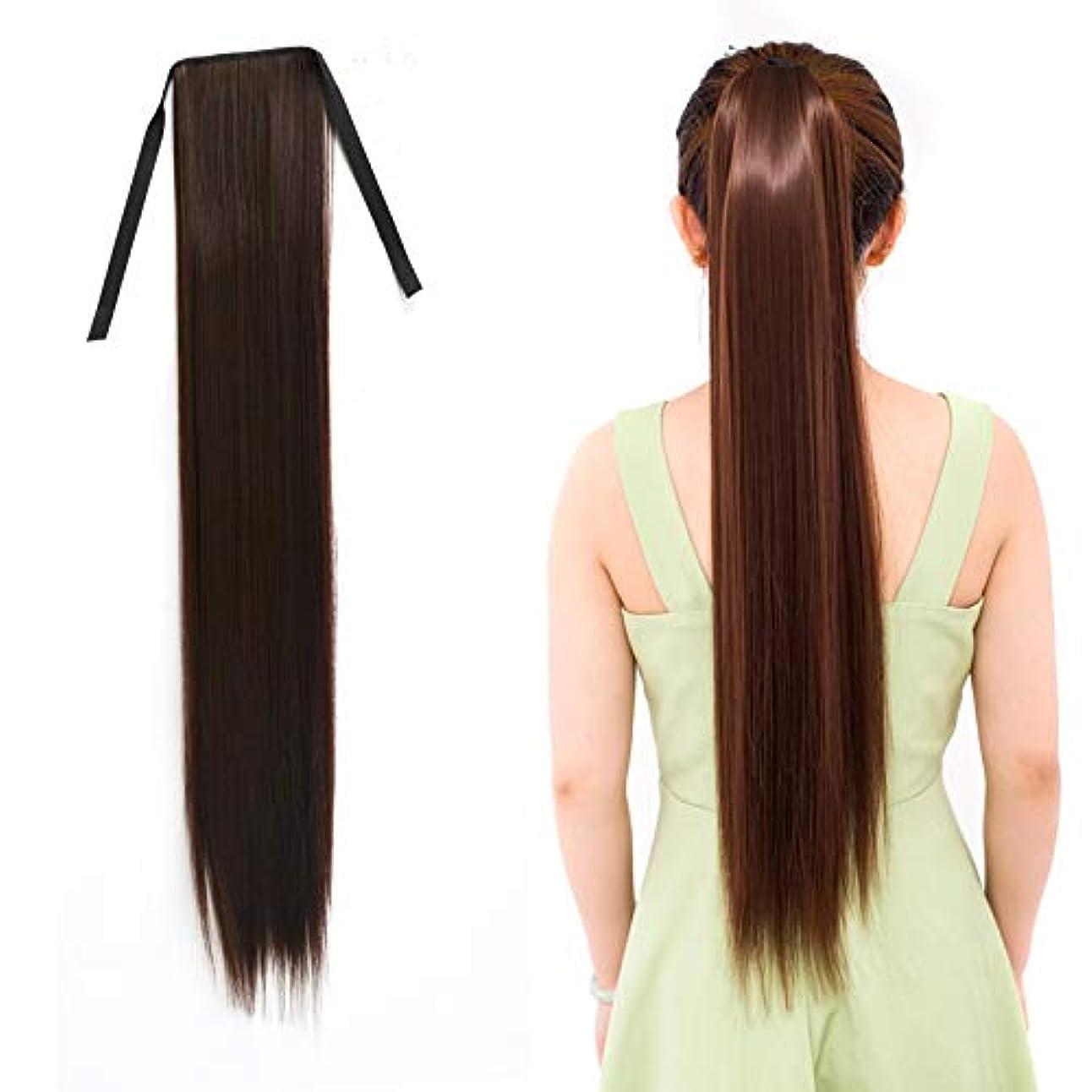 織機なんでもタオルWTYD 美容ヘアツール 女性のためのナチュラルロングストレートヘアポニーテール包帯かつらポニーテール、長さ:75センチ (色 : Black Brown)