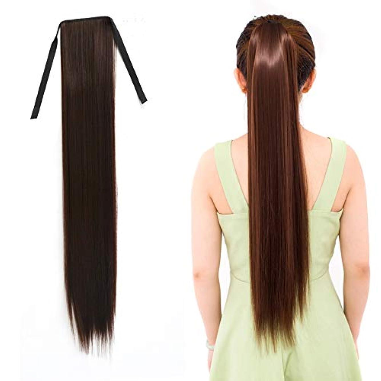 バルーン急いで刺します美しさ 女性のためのナチュラルロングストレートヘアポニーテール包帯かつらポニーテール、長さ:75センチ ヘア&シェービング (色 : Black Brown)