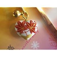 しおり?ブックマーカー鈴付き(ハートもみじ)磁器の故郷で作るハート絵柄がキレイな!磁器しおりハートはプレゼントにお薦め!